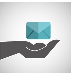 Hand holding email icon vector
