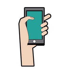 Hand with smartphone application technology device vector