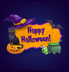 happy halloween greeting card poster vector image