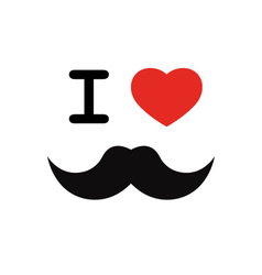 I love mustache with red heart shape vector image