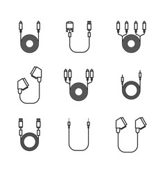 icons of cord and cable with plugs of thin lines vector image