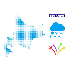 Icy hokkaido island map vector