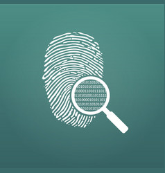 id fingerprint icon with magnifying glass and vector image