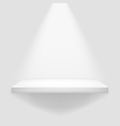 illuminated white shelf hanging on wall template vector image