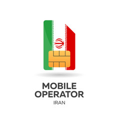 Iran mobile operator sim card with flag vector