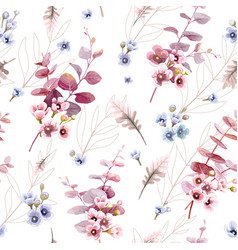 leaves and wax flower seamless pattern wallpaper vector image
