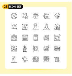 Line pack 25 universal symbols cloud file vector