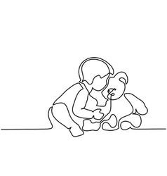 Little boy sitting with teddy bear vector