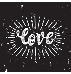 Love and starburst black vector image
