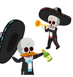 Mexican skulls mariachis with trumpet and tequila vector