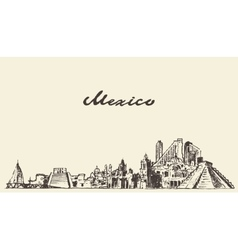Mexico skyline drawn sketch vector image