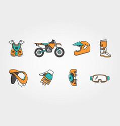 Motocross extreme race icon set vector