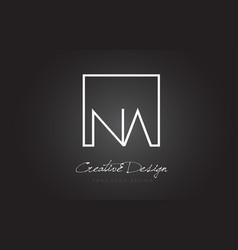 Na square frame letter logo design with black and vector