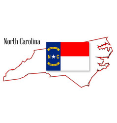 North carolina state map and flag vector