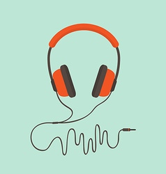 Orange headphones vector
