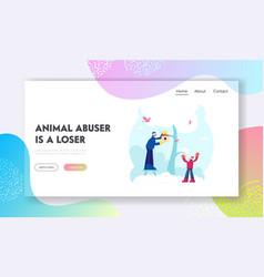people help to birds in cold season website vector image