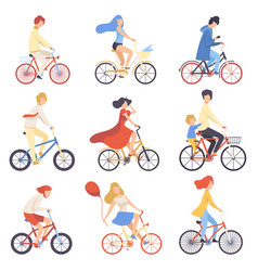 people in casual clothes riding bicycles set vector image