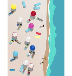 People on beach aerial view vector