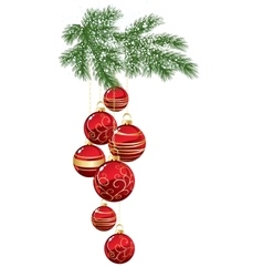 Pine with red christmas bauble vector