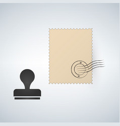 Postmark template seal and stamp vector