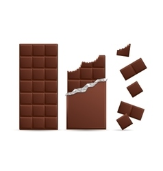 Realistic Chocolate Bar Bitten with Pieces vector