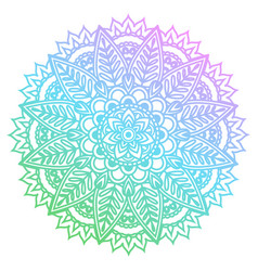 Round gradient mandala with floral patterns vector