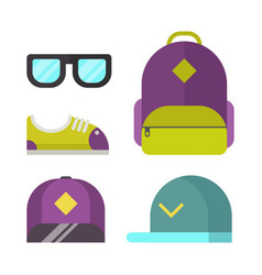 school bag and fashion accessory icons vector image