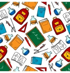 School supplies and objects seamless pattern vector image