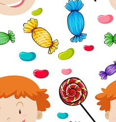 Seamless background with kids and candy vector image