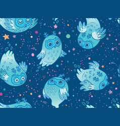 seamless pattern of cute ghost owls in blue vector image