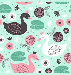 seamless pattern with beautiful princess swan vector image