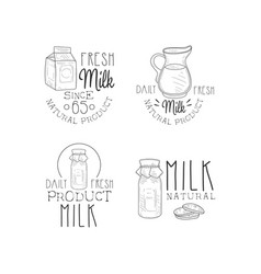 Set of hand drawn logos for milk production vector