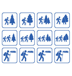 Set of hiking icon isolated vector