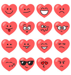set of red hearts with different emotions vector image
