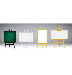 Set realistic wooden easel or wood easels paint vector