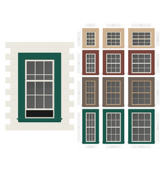 Single hung colonial style typical window set in vector