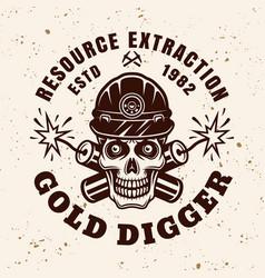 Skull gold miner and dynamites emblem vector