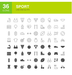 sport line web glyph icons vector image