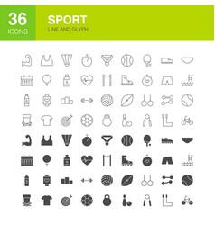 Sport line web glyph icons vector