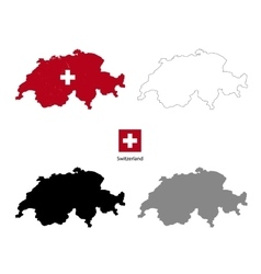Switzerland country black silhouette and with flag vector