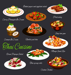 thai cuisine seafood dishes meat fruit desserts vector image