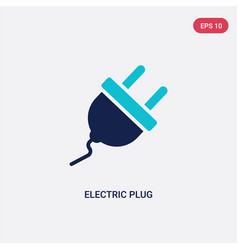 Two color electric plug icon from general-1 vector