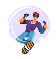 virtual reality game isolated icon man in glasses vector image
