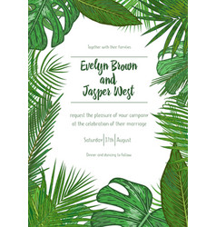 Wedding event invitation card template exotic vector