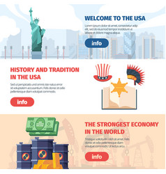 welcome to usa horizontal banner traveling famous vector image