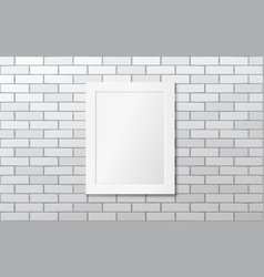 white frame on a white brick wall mock up vector image