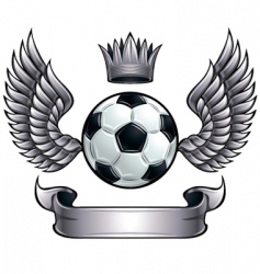 Winged soccer ball emblem vector