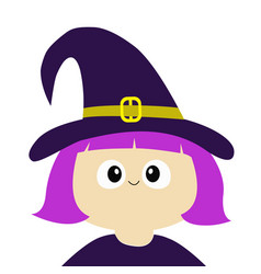 witch girl wearing curl hat costume cartoon funny vector image