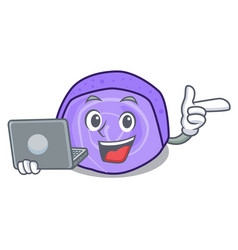 With laptop blueberry roll cake character cartoon vector