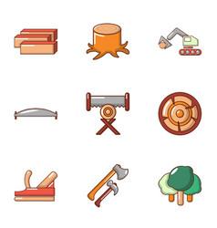 work treelike icons set flat style vector image